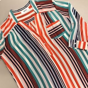 Mod Stripe Blouse Top Shirt Button White Blue Med